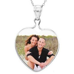 Mother of Pearl Heart Sterling Silver Color Photo Pendant