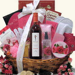 Rose Wine and Spa Thank You Gift Basket