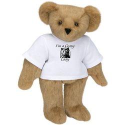 "15"" Teddy Bear in Crazy Cat Lady T-Shirt"