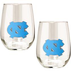 North Carolina Tar Heels 15 Oz. Stemless Wine Glass Duo