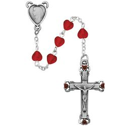 Red Heart Glass and Pewter Rosary