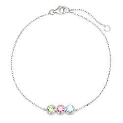 3 Birthstone Bezel Set Silver Bracelet