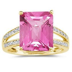 Emerald Cut Pink Topaz and Diamond Ring in 10k Yellow Gold