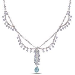 7.00 Ct Aquamarine Necklace in Sterling Silver