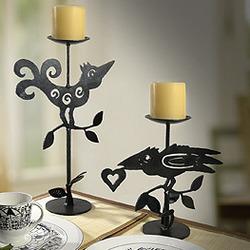 Curly Bird and Crow Metal Candleholder Set