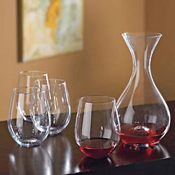 Decanter and Stemless Wine Glasses Set