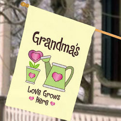 Personalized Love Grows Here House Flag