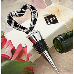 Murano Glass Black and Silver Heart Wine Stopper