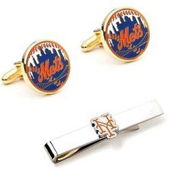 New York Mets Cufflinks and Tie Bar Set