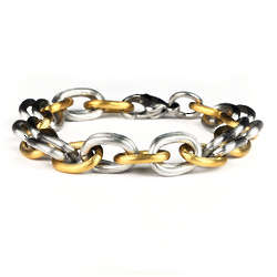 Men's Stainless Steel Two Tone Link Bracelet