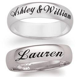 14K White Gold Engraved Name/Message Band