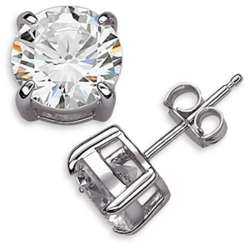 Sterling Silver 8mm Round Cubic Zirconia Studs