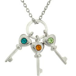 Mother's Sterling Silver 3 Birthstone Key Charms Necklace