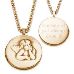 Goldtone Angel Engraved Locket