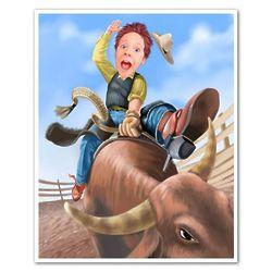 Ride a Bucking Bull Custom Photo Caricature Art Print