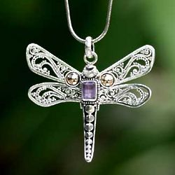 Dragonfly Summer Gold Accent Amethyst Pendant Necklace