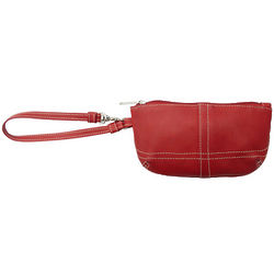 Red Piel Leather Ladies Clutch with Wristlet