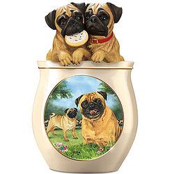 Linda Picken Pug Art Ceramic Cookie Jar