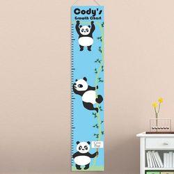 Boy's Hanging Pandas Personalized Height Chart