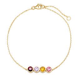 4 Birthstone Bezel Set Gold Bracelet