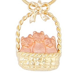 14k Gold Basket and Bow Pendant with Pink Gold Kittens