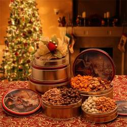 Holiday Tower of Nuts Gift Tin