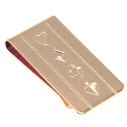 Engraved Card Players Money Clip