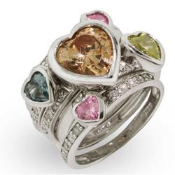 Five Band Sparkling Pastel Hearts Sterling Silver Stackable Ring