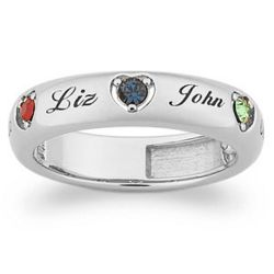 Personalized Mother's Birthstone and Name Heart Band
