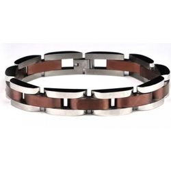 H Link Stainless Steel Bracelet with Chocolate Center