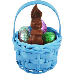 Small Wicker Easter Basket with Milk Chocolate Bunny