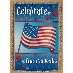 Personalized July 4th Celebration Tapestry Throw Blanket