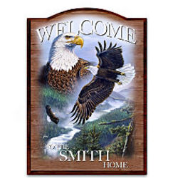 Soaring Guardians Bald Eagle Personalized Welcome Sign