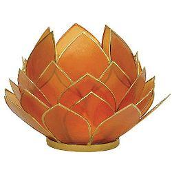 Mango Tone Capiz Shell Lotus Tealight Candle Holder