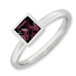 Stackable Square June Birthstone Ring