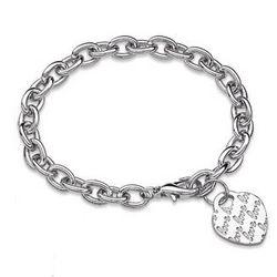 Silvertone Love Heart Charm Engraved Name Bracelet