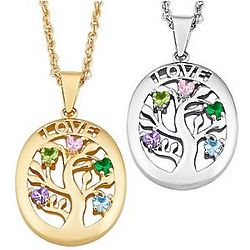 Personalized Love Family Tree Birthstone Pendant