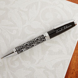 Embossed Silver Script Personalized Ball-Point Pen