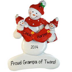 Proud New Grandpa of Twins Personalized Ornament