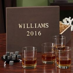 Personalized Eastham Whiskey Set in Wooden Gift Box
