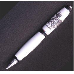 Family Crest Engraved White Corian Pen