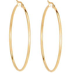 "2"" Gold-Plated Stainless Steel Hoop Earrings"