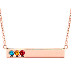 3 Birthstone Rose Gold Personalized Name Bar Necklace