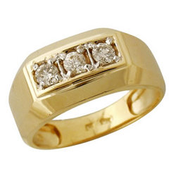 Three Stone Mens Diamond Ring in 10k Yellow Gold