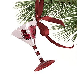 South Carolina Gamecocks Mini Martini Glass Christmas Ornament