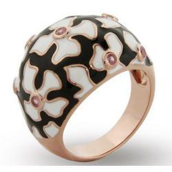 Rose Gold Enamel Flower Ring
