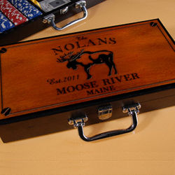 Personalized Cabin Series Poker Set with Moose Image