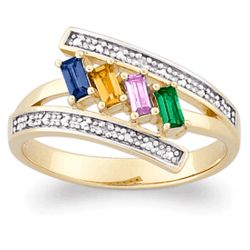 18K Gold Over Sterling Two-Tone Mothers Baguette Birthstone Ring