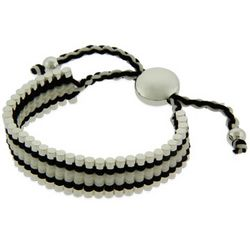 Black and White Links Engravable Friendship Bracelet