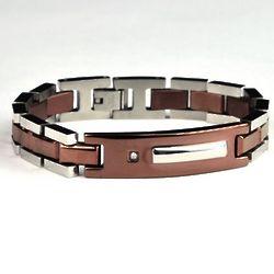 Men's Chocolate Stainless Steel ID Bracelet